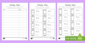 Estimating Capacity Activity Sheet - New Zealand Maths , worksheet, worksheet, litres, millilitres, estimate, capacity