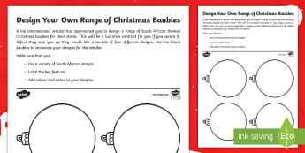 Design Your Own Range Of Christmas Baubles Activity Sheet - art, design, south africa, christmas, decorations, baubles, retail, worksheet