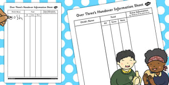 Over Threes Handover Information Sheet - handover, information