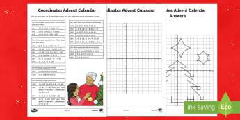 UKS2 Advent Calendar Coordinates Activity Sheet - advent calendar, coordinates, christmas co-ordinates, coordinates, worksheet, position and direction
