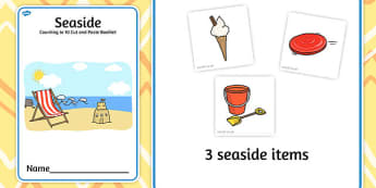 Seaside Counting to 10 Cut and Paste Booklet - cutting, count
