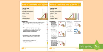 KS1 Star of David Differentiated Step-by-Step Instructions - Judaism, Religious Education, RE, Shema, Jewish, Prayer, Torah, drawing, line work