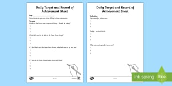 Daily Target and Record of Achievement Sheet Activity Sheet - young people, targets, goals, records, monitoring, worksheet