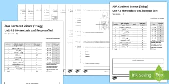 AQA Combined Science (Trilogy) Unit 4.5 Homeostasis and Response Test - KS4 Assessment, Test, biology, homeostasis, control, coordination, control and coordination, coordin