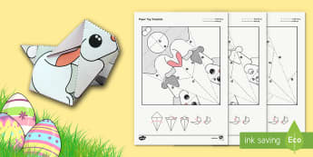 Simple Origami Easter Bunny Rabbit Paper Craft - origami, easter, bunny, craft, paper, simple, creative, activity, fold, worksheet