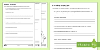 Exercise Interview Activity - exercise, healthy, lifestyle, pE, health, sport, fitness, competition, training