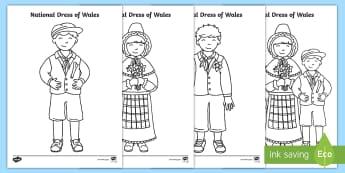 National Dress of Wales Colouring Page - Cennin Pedr, cennin, daffodil, leek, Cymru, Wales, Welsh, Cymraeg, dillad, clothes, cardiau, cards,