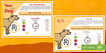 Chinese New Year of the Dog Display Poster English/Mandarin Chinese - chinese new year, display poster, information, year of the dog, EAL