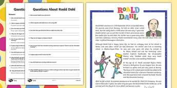 UKS2 Roald Dahl Differentiated Reading Comprehension Activity