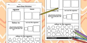 Square Shape Worksheet - shapes, 2D shapes, tracing, numeracy