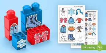 Winter Matching Connecting Bricks Game - EYFS Connecting Bricks Resources, Duplo, Lego, plastic bricks, winter, seasons, snow, snowman, snowf