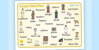 Joseph Word Mat - Joseph, coat, Jacob, bible story, bible, slave, brothers, word mat, writing aid, mat, cupbearer, pharao, prison, cows, corn, dreams, Palace, Egypt, fat, thin