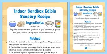Indoor Sandbox Edible Sensory Recipe - indoor, sandbox, edible, sensory, recipe
