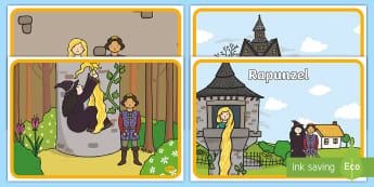 Rapunzel Story Visual Aids - Rapunzel, sequencing, prince, witch, tower, long hair, fairytale, traditional tale, Brothers Grimm, tower, woods, forest, prince, let down your hair, story, story sequencing