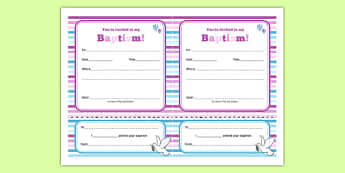Baptism Invitation - Christening, baptism, naming ceremony, baby, party, invitation