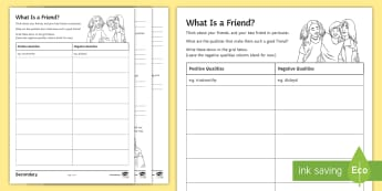 What Is a Friend? Activity Sheet - peer pressure, relationships, friendships, young people, emotions, behaviour, worksheet