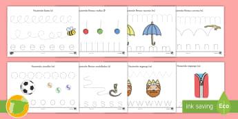 Fichas de actividad: Control de trazo y motricidad - escritura, escribir, trazo, trazar, motor, motriz, motoras, ,Spanish