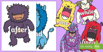 Connectives on Monsters - Connectives, VCOP, connective resources, connectives display words, connective displays
