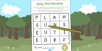 Spring Word Unscramble - seasons, weather, literacy, games