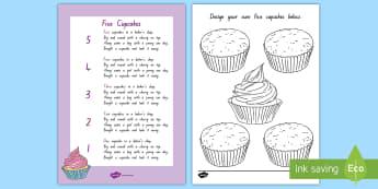 Five Cupcakes Worksheet / Activity Sheet - NZ Literacy Resources, Year 1-3, nursery rhymes, Worksheet, New Zealand, activity, activities, readi