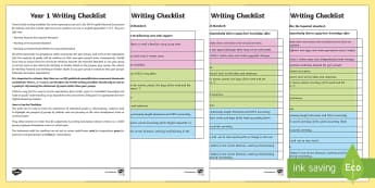 Year 1 Writing Checklist - KS1, year 1, writing, assessment, targets, checklist, progress, objectives, working towards, expecte