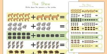The Stew Up to 20 Addition Sheet - australia, the stew, wombat stew, marcia k vaughan, addition