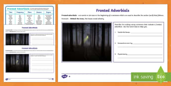 Fronted Adverbials Spooky Settings Activity Pack