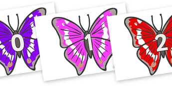 Numbers 0-31 on Emperor Butterflies - 0-31, foundation stage numeracy, Number recognition, Number flashcards, counting, number frieze, Display numbers, number posters