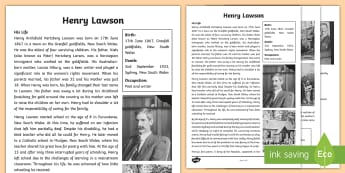 Henry Lawson Fact File - ACHASSK110, Australia, poetry, outback, poem, Henry Lawson, goldfields, Australian history, 5/6, poe