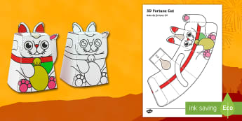 Simple 3D Chinese New Year Fortune Cat Paper Craft English/Portuguese - chinese new year, paper craft, 3d model, cat, year of the rooster, eal