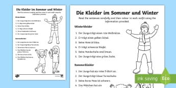 Clothes and Colours Read and Draw Activity Sheet German  - Clothes KS2 German ,German, kleidung, mfl, languages
