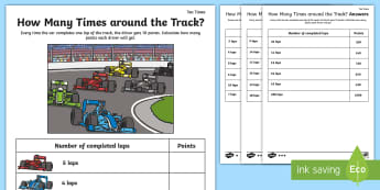 How Many Times Around the Track 10 Times Table Activity Sheet - Math, Multiplication, Formula One, Grand Prix, Motor Racing, worksheet