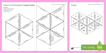 Magnetism and Electromagnetism Tarsia Triangular Dominoes - Tarsia, gcse, physics, magnet, magnets, magnetism, magnetic, magnetic fields, north, south, pole, po, plenary activity