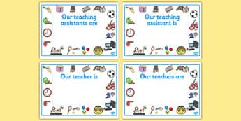 Editable Classroom Teacher/TA/NN Door Signs (Design 2) - Classroom sign, welcome, teacher, teaching assistant, welcome sign, door sign, class sign, KS1 sign,  Editable sign, class door sign