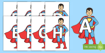 A-Z Alphabet on Superhero - A-Z, A4, display, Alphabet frieze, Display letters, Letter posters, A-Z letters, Alphabet flashcards