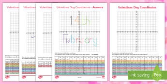 UKS2 Valentine's Day Coordinates Activity Sheets - Y5, Y6, Cupid, rose, Heart, 14th, February, worksheets