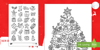 Christmas Mindfulness Colouring Advent Display Calendar English/Hindi  - Christmas, colouring, fun, Christmas tree, celebration, holidays, festival, Christians, dates, New y