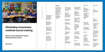 Eliminating unnecessary workload around marking DfE Adult Guidance - Feedback, KS3 marking, KS4 marking, KS5 marking, Managing workload, Workload, stress, wellbing, redu
