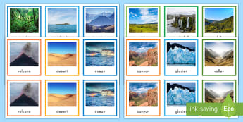 Landform Pairs Matching Game - Social Studies, Natural Environment, Memory Game, Center Activity, Geography, Photographs, volcano,