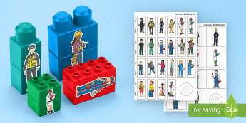 People Who Help Us Mix and Match Connecting Bricks Game - Emergency services, police, doctor, nurse, fireman, firefighter, lego, duplo