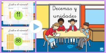 Presentación: El valor de las cifras - Decenas y unidades - valor posicional, valor de las cifras, decenas, unidades, mates, matemáticas, presentación, powerp