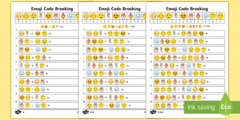 KS2 Emoji Code Breaking Activity Sheets - Y3, Y4, Y5, Y6, worksheets, calculation, add, subtract