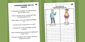 Comparing Barney and Lou Worksheet / Activity Sheet with Prompts - stig, worksheet