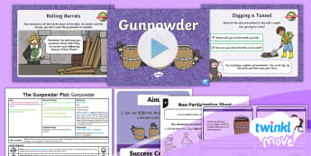 Twinkl Move - Year 2 Dance: The Gunpowder Plot Lesson 2 - Gunpowder - Key Stage 1, KS1, Year 2, Y2, PE, Physical Education, Dance, Exercise, Sport, History, Gunpowder Plo