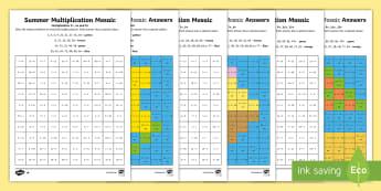 LKS2 Summer Multiplication Mosaics Differentiated Worksheet / Activity Sheets - LKS2, multiplication, times tables, ks2 numeracy, lks2 numeracy, lks2 times tables, lower key stage
