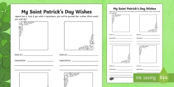 My Saint Patrick's Day Wishes Activity Sheet - Saint Patrick's Day, clover, wish, wishes, saint patrick, explaining