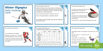 LKS2 Winter Olympics Maths Challenge Cards - Y3, Y4, Sports, Korea, Mastery, Problem Solving, Use and apply, using and applying