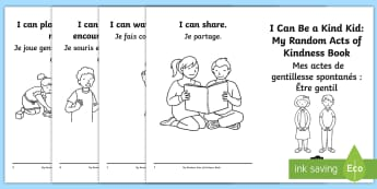 Random Acts of Kindness Activity Booklet English/French - Kindness, friendship, relationships, coloring, booklet, caring, EAL French,French-translation