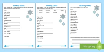 KS1 Wintery Verbs Based on I Am Poem Differentiated Activity Sheet - christmas, poetry, winter, writing a poem, worksheet