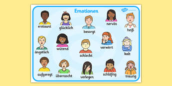 Emotions Word Card German - Language, German, emotion, visuals